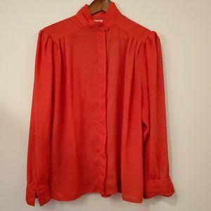 Vintage RED Secretary blouse size 16